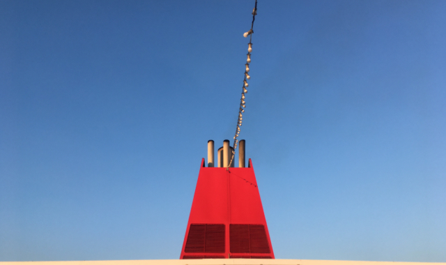 blue sky, red funner, deck, ferry from Kos to Bodrum, Ferryhopper