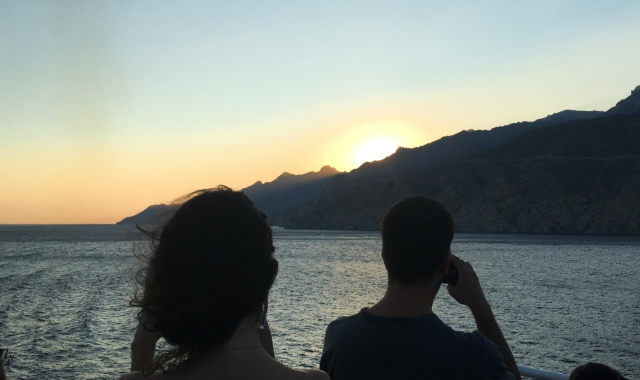 sunset, travelers, tourists, sea, ferry trip from Chios to Cesme, ferryhopper